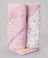 SpaSilk Pink Flower Butterfly Hooded Towel & Washcloth Set