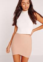 Missguided Petite Asymmetric Bandage Mini Skirt Nude