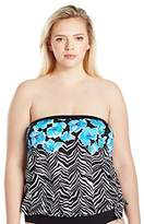 Maxine Of Hollywood Women's Zebra Garden Bandeau Blouson Tankini with Removable Straps
