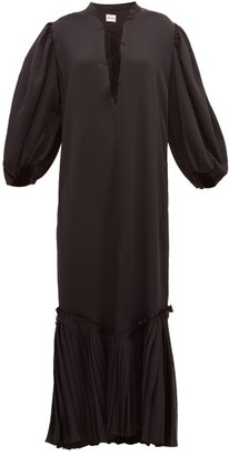 KHAITE Bianca Lace Up Satin Dress - Womens - Black