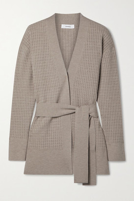 CASASOLA Como Belted Waffe-knit Wool-blend Cardigan - Sand