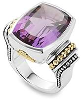 Lagos 18K Gold and Sterling Silver Caviar Color Large Amethyst Ring