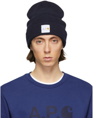 A.P.C. Navy Carhartt WIP Edition Watchover Beanie