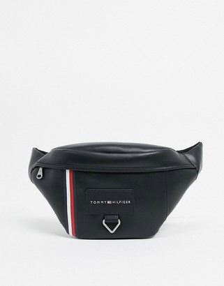 Tommy Hilfiger faux leather fanny pack with stripe logo