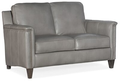 """Thumbnail for your product : Bradington-Young 59"""" Genuine Leather Square Arm Loveseat Fabric: Empyrean Tweed Genuine Leather, Leg Color: Plantation, Nailhead Detail: #9 French Nat"""