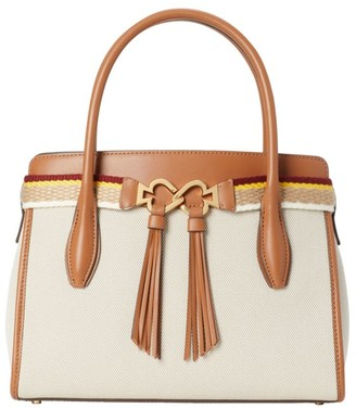 Kate Spade Medium Toujours Canvas & Leather Tasssel Satchel