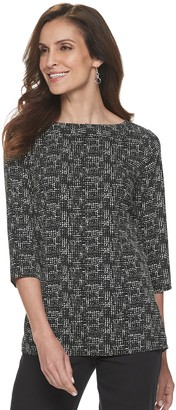 Croft & Barrow Women's Print Boatneck Top