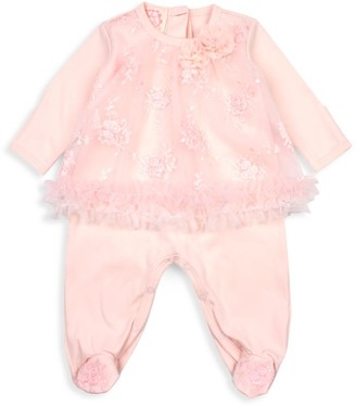 Kate Mack Baby's & Little Girl's Baby Biscotti Floral-Embroidered Mesh Footie