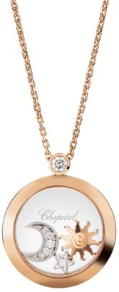 Chopard Happy Diamonds 18K Rose Gold & Diamond Pendant Charm Necklace