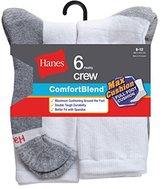 Hanes Men's Comfortblend Max Cushion 6-Pack White Crew Socks
