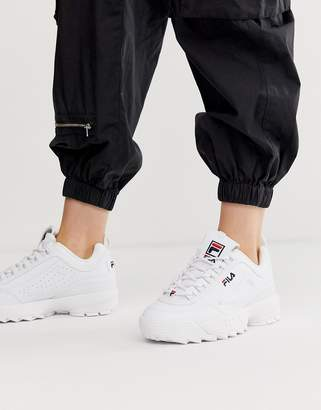 Fila Disruptor faux leather trainers in white