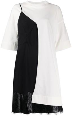 Colour Block Lace-Panel Dress