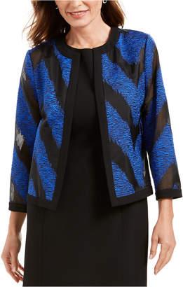 Kasper Organza Mixed-Texture Flyaway Jacket