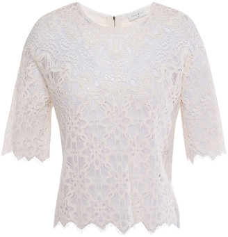 Sandro Alycia Paneled Cotton-blend Guipure And Corded Lace Top