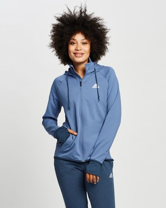 adidas Women's Blue Jackets - Designed To Move Aeroready Full-Zip Hoodie - Size S at The Iconic