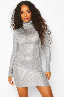 boohoo Petite Rib Shimmer Knitted Turtle Neck Dress