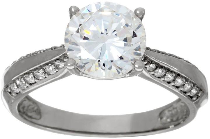 Diamonique 2.00ct Solitaire Ring, 14K Gold