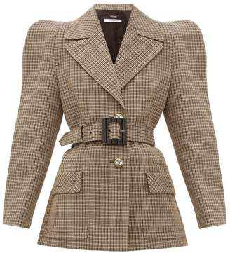 Givenchy Belted Single-breasted Checked-wool Jacket - Womens - Beige Multi