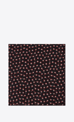 Saint Laurent Squared Scarves Large Square Scarf In Wool Muslin With Star Print Black Onesize
