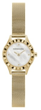 BCBGMAXAZRIA Ladies Round Goldtone Stainless Steel Mesh Strap Watch, 24mm