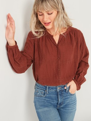 Old Navy Oversized Embroidered Button-Front Blouse for Women