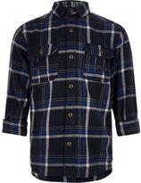 River Island Boys navy check shirt