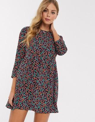 Asos DESIGN long sleeve smock mini dress in floral print