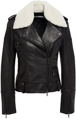 Victoria Victoria Beckham Shearling-trimmed Leather Biker Jacket