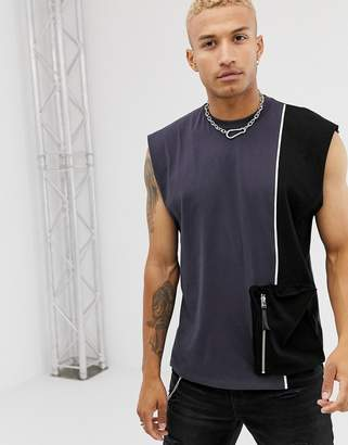 Asos Design DESIGN oversized sleeveless t-shirt with utlity pocket and piping in washed black-Grey