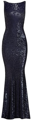 Naeem Khan Cowl Back Sleeveless Sequined Gown
