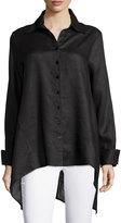 Neiman Marcus Linen Long-Sleeve Draped-Back Blouse, Black