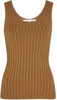 Veronica Beard Sandra brown ribbed stretch-knit tank