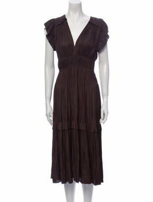 Ulla Johnson V-Neck Midi Length Dress Brown