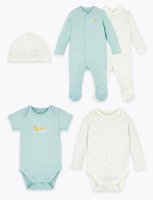 Marks and Spencer 5 Pack Organic Cotton Starter Baby Set (6lbs-12 Mths)