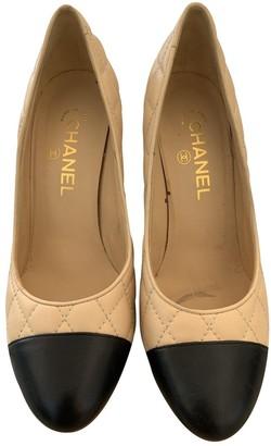 Chanel Ecru Leather Heels