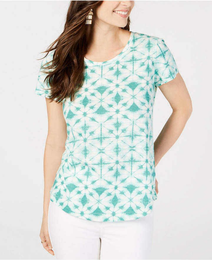 Style&Co. Style & Co Printed Cotton Scoop-Neck T-Shirt