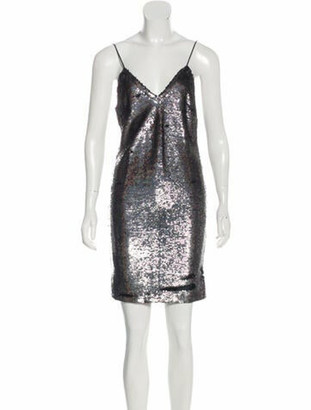 IRO V-Neck Mini Dress Silver