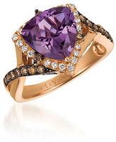 LeVian 0.54TCW Diamonds, Amethyst and 14K Rose Gold Chocolatier Crisscross Shank Ring