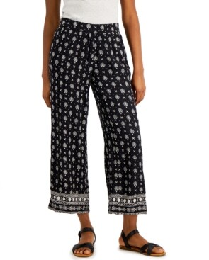 Style&Co. Style & Co Petite Etched-Border Wide-Leg Pants, Created for Macy's