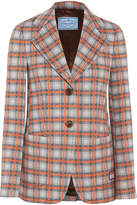 Prada Checked Jacquard-knit Blazer - Orange