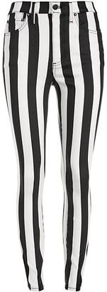Alice + Olivia Jeans Good High-Rise Ankle Stripe Skinny Jeans