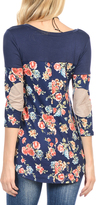 Magic Fit Navy Floral Elbow Patch Tunic