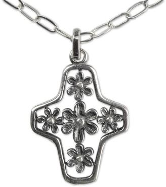 Novica Handmade Sterling Silver Cross Necklace, 'Blossoming Faith'