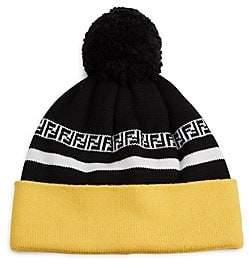 78de3656d9b4e Fendi Men s FF Stripe Knit Pom Pom Wool Beanie