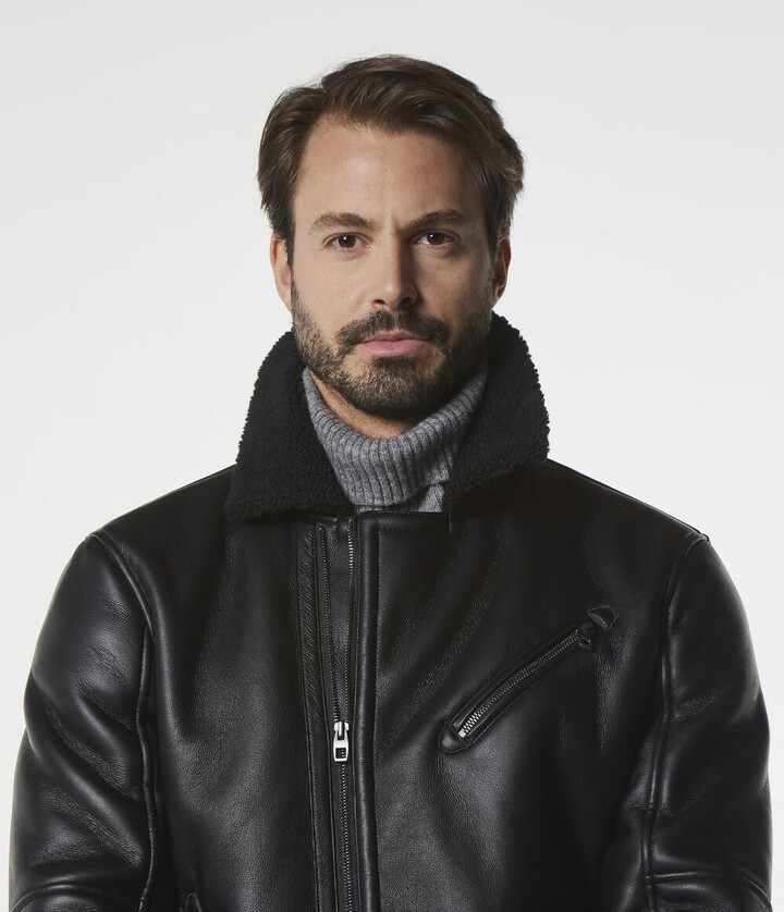Andrew Marc MAXTON FAUX LEATHER MOTO JACKET