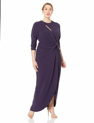 Dress the Population Women's Size Naomi Longsleeve Jersey Knit Twist Long Maxi Gown Dress Plus