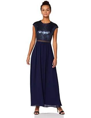 TRUTH & FABLE Lace Trim Bridesmaid Maxi Dresses, (Black/Purple Mesh), (Size:XL)