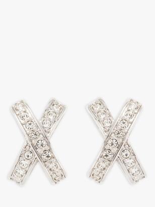 Susan Caplan Vintage Nina Ricci Rhodium Plated Swarovski Crystal Cross Clip-On Stud Earrings, Silver