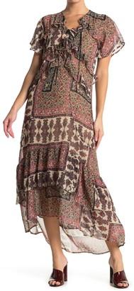 Love Stitch Mixed Print High/Low Hem Dress