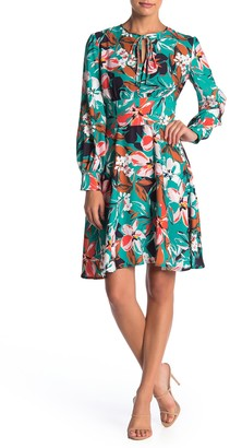 Alexia Admor Floral Print Neck Tie Dress